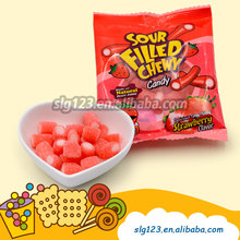22g Mini sour fruit juice made sour filled strawberry flavor gummy candy