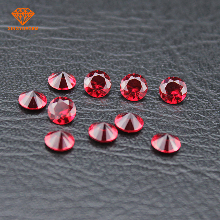 Red color brilliant cut 7mm glass gemstone with wholesale price