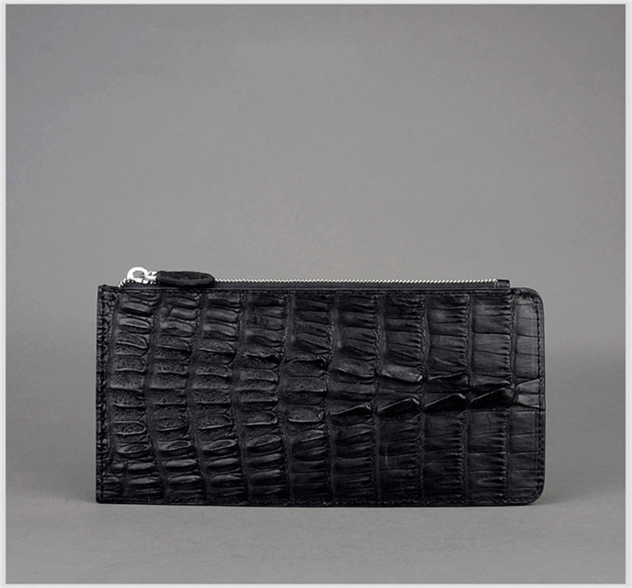 genuine caiman crocodile leather men bifold wallet ID credit card holder black