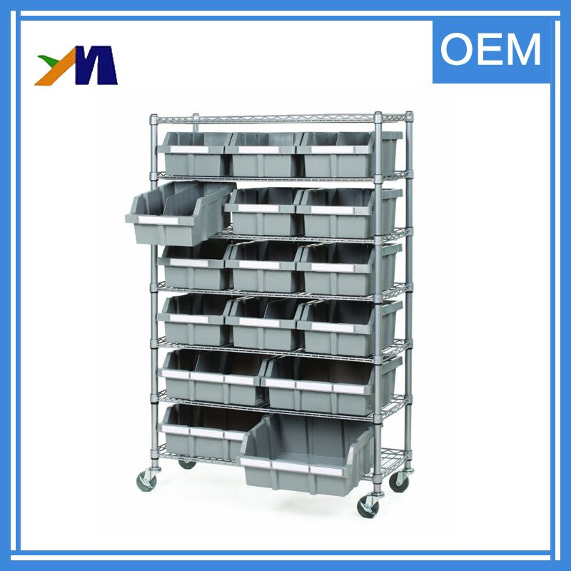 Heavy-duty warehouse stainless steel sliding wire shelving