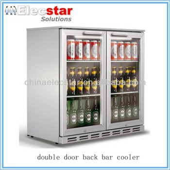 silver or back or stainless steel body, glass door double door back bar cooler