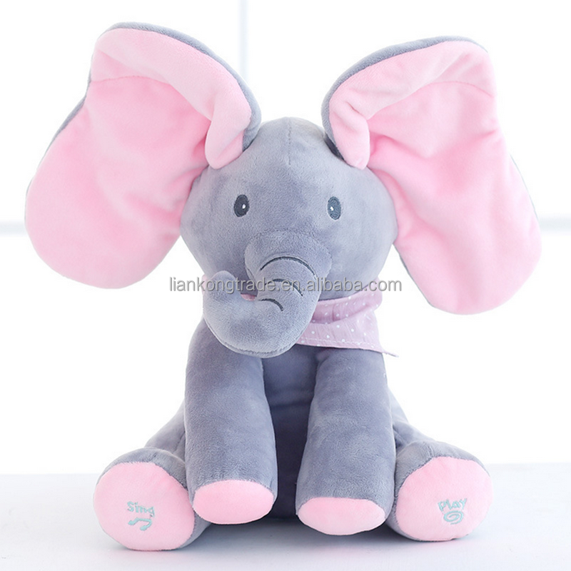 hide cat plush elephant electric music elephant doll plush elephant toy