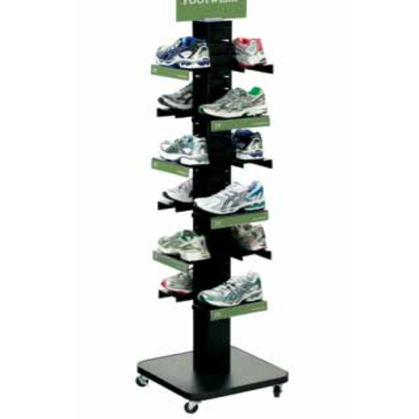 Mobile Metal Tower Sports Shoes Display Rack