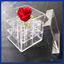 Manufacturing customized factory direct selling plexiglass rose display stand clear acrylic flower box