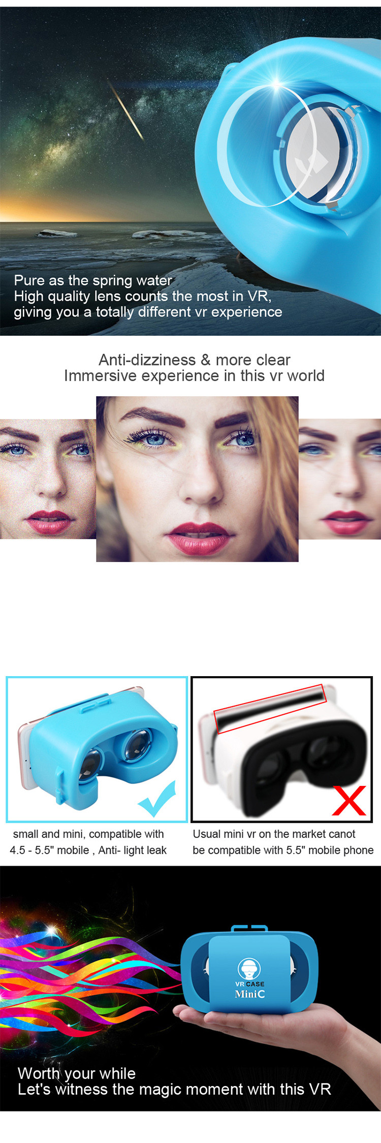 Free shipping Low cost virtual reality 3d glasses VR headset for watching 3D fetish video