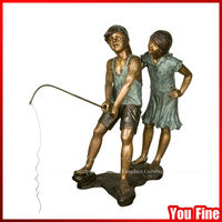 Decorative Boy And Girl Bronze Boys Fishing Statue