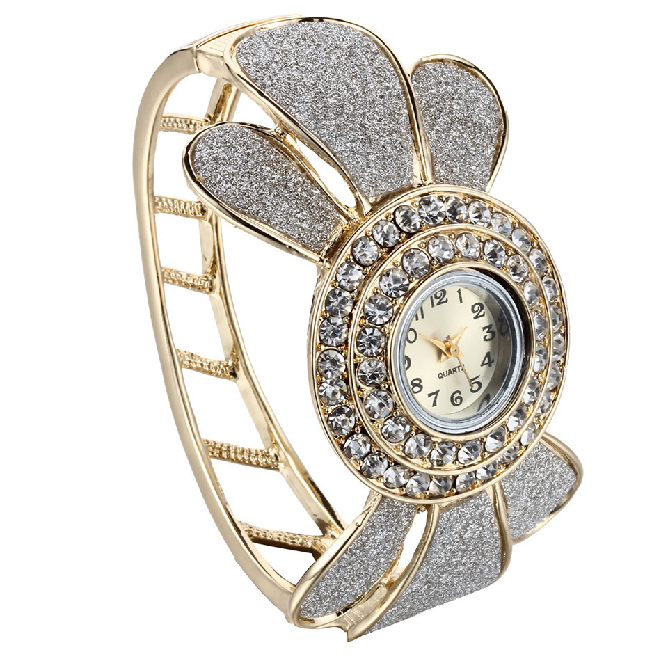 New Design 24 Gold Plated Trendy Bangle Bracelet Watch Rhinestone Circular Crystal Wrist Watch Casual Watchs Watches Bracelets