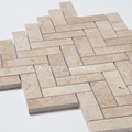 Professional Polished And Herringbone Shape Travertine Marble Mosaic