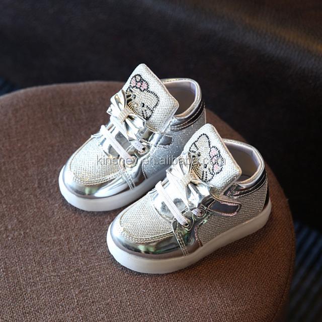 KS00500C Korea children sneakers led light cartoon pattern cute cat girls shoes