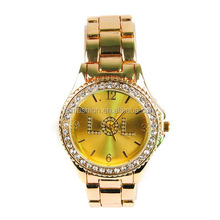 Newest Model Customized WTF Letters Dial Rhinestone Japan Quartz Move Gold Alloy Watch
