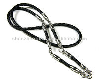 Stainless steel with leather chain necklace for men jewellery accesories