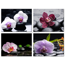 Colorful Orchid Flowers Canvas Painting Zen Flower Pictures Giclee Print Wholesale Beautiful Canvas Print 4 Pieces