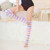 Women's Feather Yarn Thigh High Socks Stripe Open Toe Compression Stockings