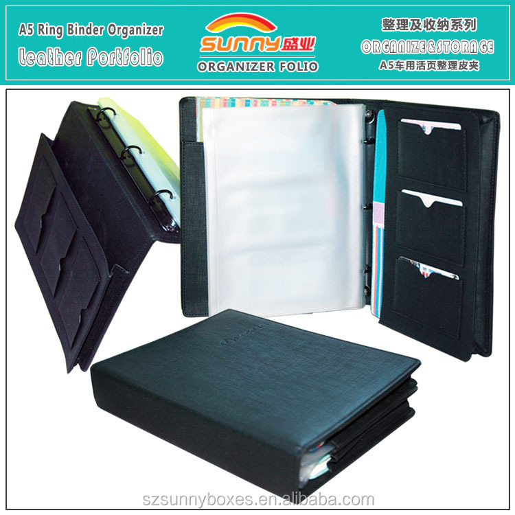 Wholesale PU Leather Mini Ring Binder A5 Portfolio Bag With PVC Pockets