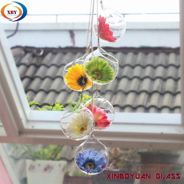 beautiful hanging crystal glass flower vases, air plant glass terrarium