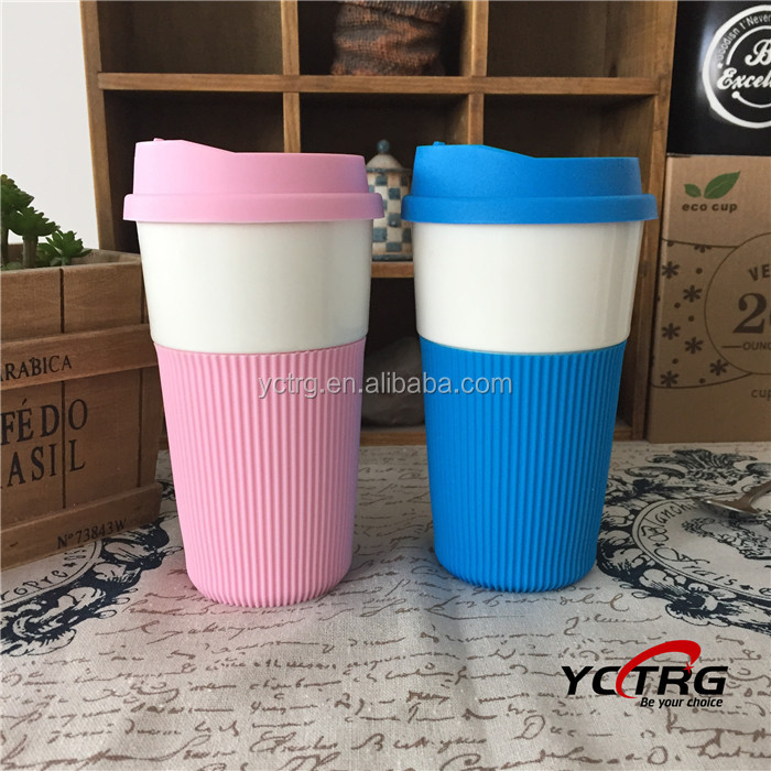 Stock Ceramic/Porcelain coffee mug with silicone lid and wrap