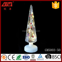 ISO9001 christmas glass cone tree crafts with red fruit