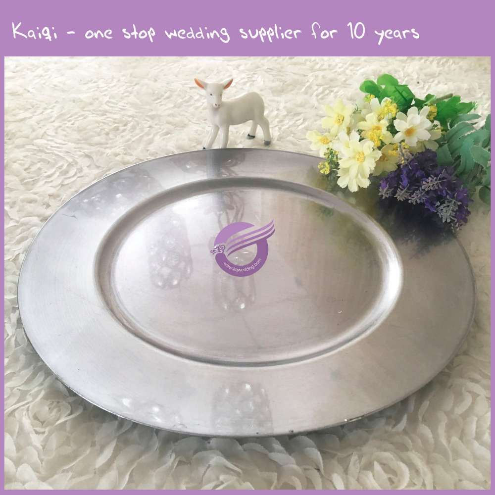 PZ08740 Cheap Silver Plastic Charger Plate for Wedding Decoration