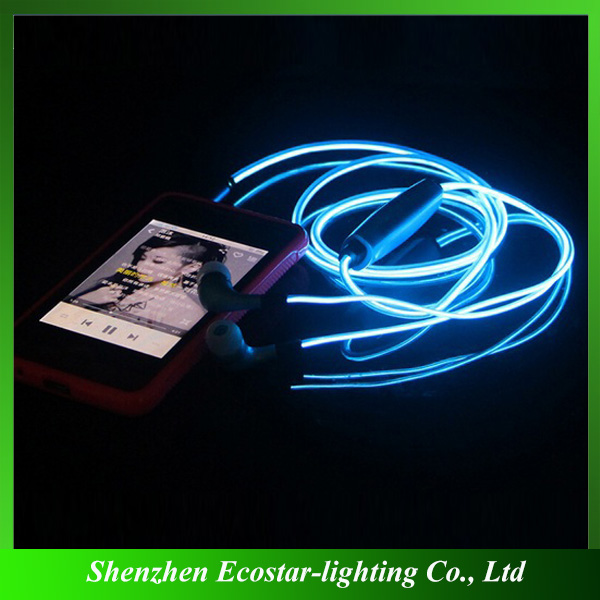 Cheap Glowing Earphone Wholesale EL Glowing Earphone