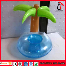 Custom pvc inflatable palm tree float cup holder cool floating drink rafts