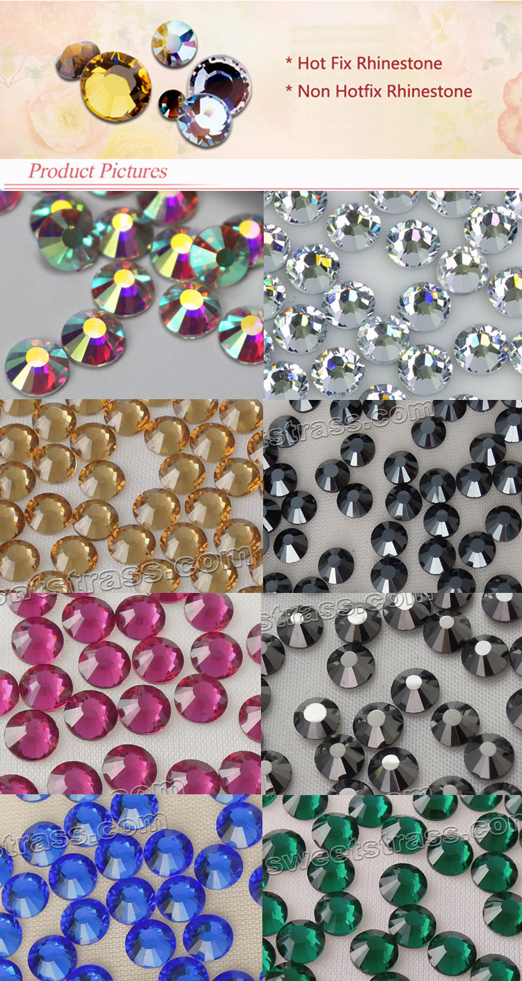 Factory outlet MC crystal stone glass hot fix rhinestones for dress