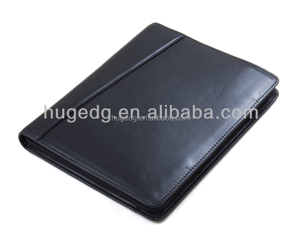 hot wholesale NEW design custom popular smooth pu leather A4 black zip organizers portfolio