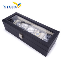 Custom PU leather 6 slots plastic watch box size with PVC clear window