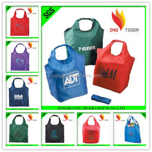 2016 Hot Sales For Promotion Reusable Shopping Bag Foldable Nylon cheap t-shirt plastic bag