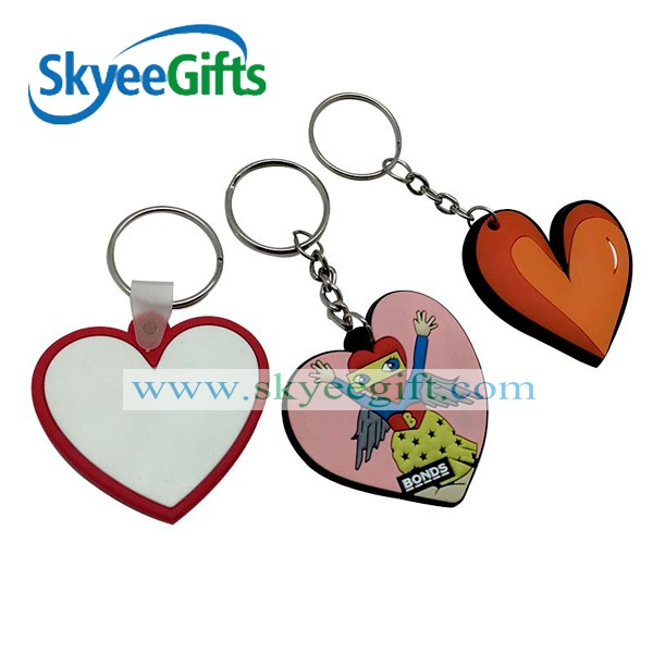 Fashion promotional keychain double sides heart shape custom soft pvc keychain