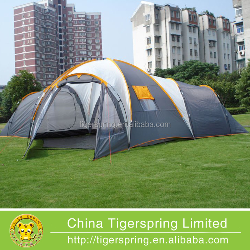 Double layers 12 person camping tent with four rooms