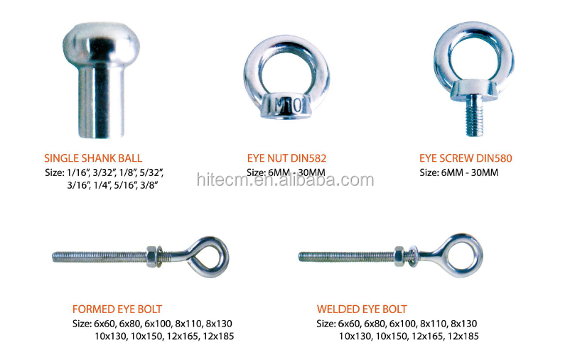 Stainles steel drop forged eye bolt DIN 580