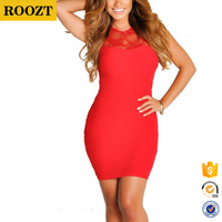 2016 Wholesale Red Bodycon Lace Cut Out Tank Mini Sexy club Dress