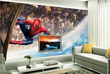 Home hall restaurant suitable spider man mask 3d wall mural brick stone spider man cartoon flying wall paper 3d wallpaper