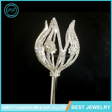 Fashion Jewelry 2016 Crown Tiara And Scepter Miss World Beauty Pageant Scepter Crystal Rhinestone Tulip Scepter