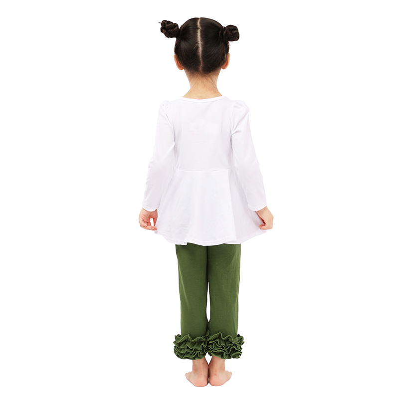 Hot sale long sleeve ruffle top with pants kids baby clothes toddler boutique outfits