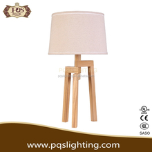 Artistical three stents wooden table lamp