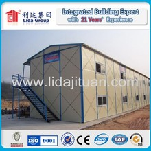 Quick Installation prefabricated steel beam Rock wool sandwich panel house design for labor camp