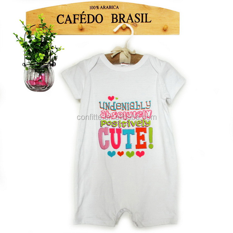 Custom 100%cotton for Letter printing Exquisite Embroidry Short Romper