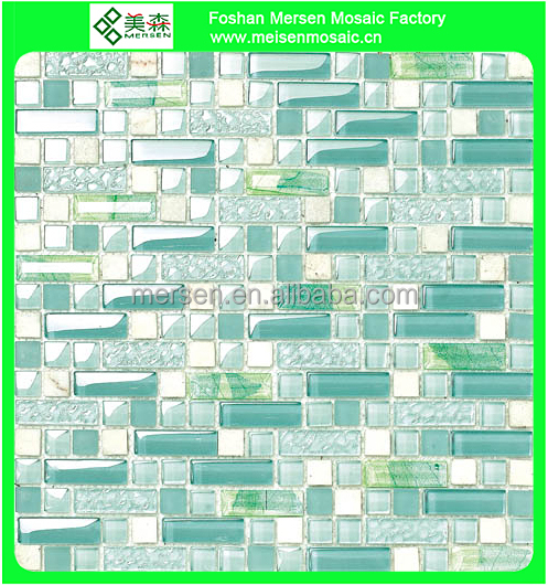 Strip bright color green crystal glass mosaic tile MK0603