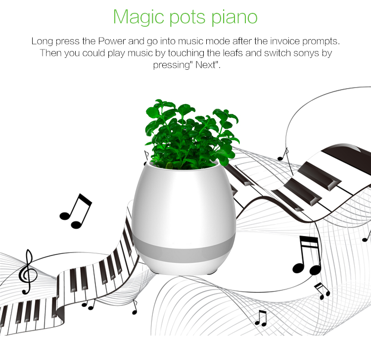 2017popular product Multi-function fashion bluetooth music flower pot,new style Bluetooth stereo