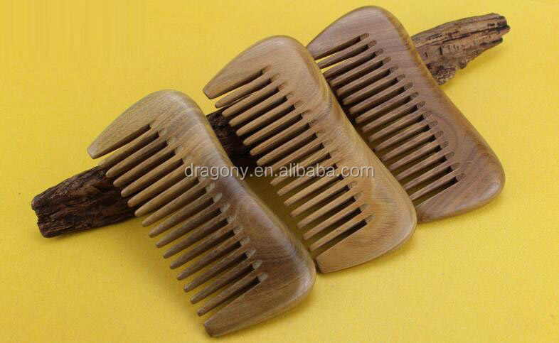 High Quality Natural Sandalwood Beard Combs Travel Wide Tooth Comb