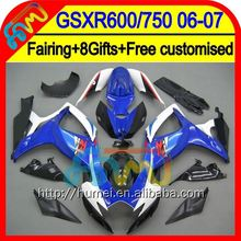 Blue white 8Gift For SUZUKI GSXR-750 GSX R750 06 07 06-07 Blue black 83HM181 GSX-R750 GSXR 750 K6 GSXR750 2006 2007 Fairing