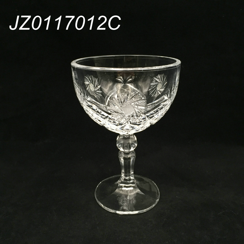 High quality engraved big mouth elegant glass drinking goblet, old fashion glassware, thick glass goblets for restaurant&bar
