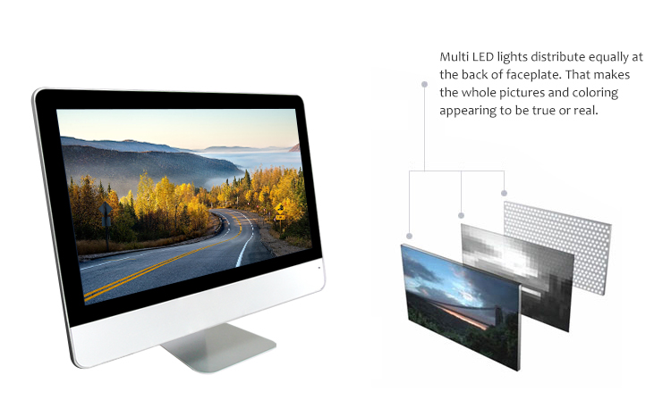 desktop all-in-one led computer aluminium all in one pc