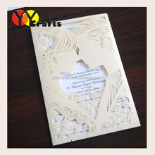 hot wedding birthday favor customized wedding invitation cardsluxury wedding invitations with ivory color pearl paper