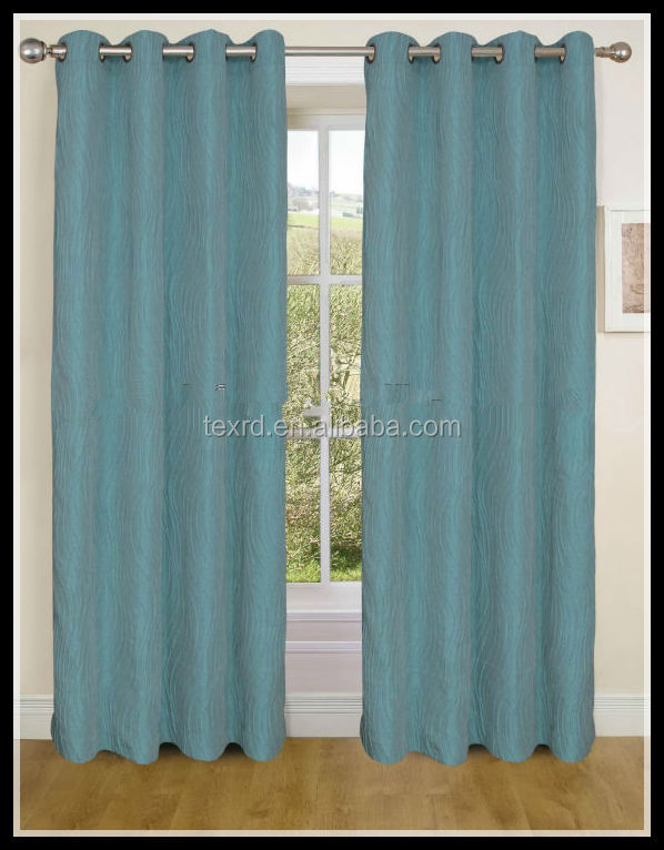 100% Polyester jacquard finished curtains with 8 metal rings