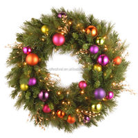 Artificial PVC LED Light wholesale Christmas Wreath with Battery Operated Warm White LED Lights