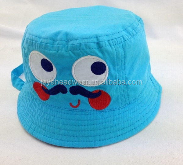 best-selling Infants Cotton Bucket Hat with Applique Blue Cartoon Style Flat top Cap