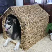 China-made fashionable best leopard short plush dog cage dog houses for large dogs for sale