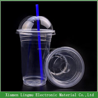 600ml Clear printed large plastic cups, juice cup ice cream container with lids
